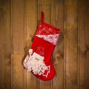 Božična nogavica z obešalnikom - božiček - 36 x 23 cm