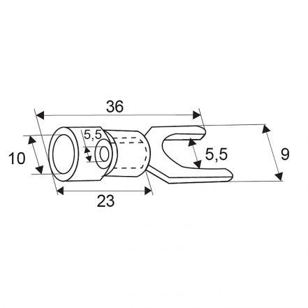 Izoliran priključek - tip lopatice, pozlačen - 5,5 / 5,5 mm - rdeč