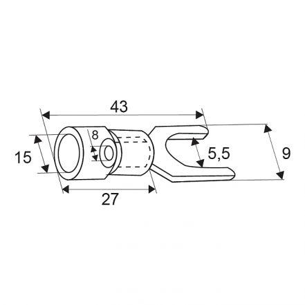 Izoliran priključek - tip lopatice, pozlačen - 5,5 / 8 mm - črn