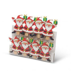 Komplet božičnih ščipalk - božiček, 8 kosov / paket