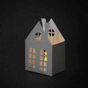 Papirnata hiška z LED čajno svečko -7 x 5,5 x 10,5 cm