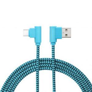 Podatkovni kabel - USB-C - dizajn Gamer 90°, črno / modra - 2 m