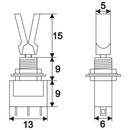 Preklopno stikalo - 1 vezje - 3 A - 250 V - ON - ON - izolirano stikalo