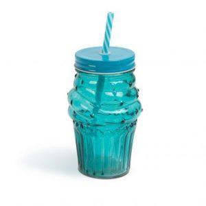 """Stekleni kozarec s slamico - """"tortica"""" - 450 ml"""