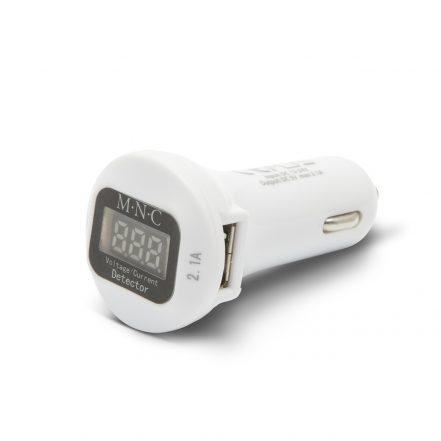 USB avtopolnilec s voltmetrom 12/24V beli