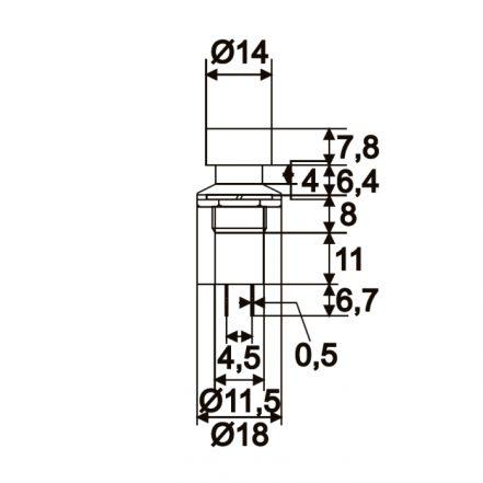 Vgradno stikalo - 1 krog - 1A - 250V - OFF - (ON) - rdeče barve