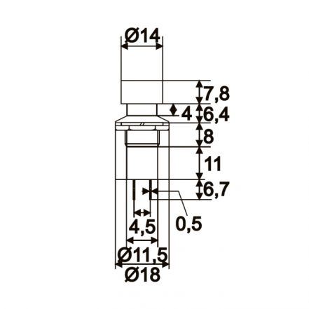 Vgradno stikalo - 1 krog - 1A - 250V - ON - (OFF) - črne barve