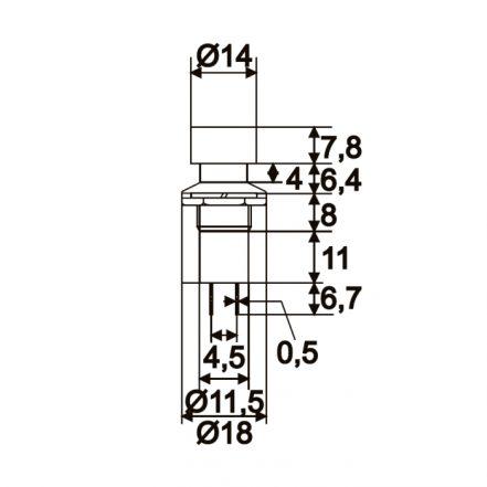 Vgradno stikalo - 1 krog - 1A - 250V - ON - (OFF) - rdeče barve