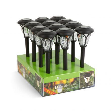 LED solar lamp - stake, patterned plexiglass - black - 400 mm