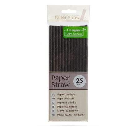 Paper straws - black - 195 mm - 25 pcs / pack