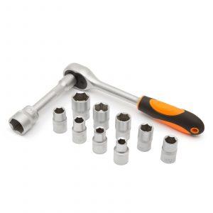 """12 delni set nasadnih ključev 10 - 24 mm z dvosmerno ragljo 1/2"""" in podaljškom"""