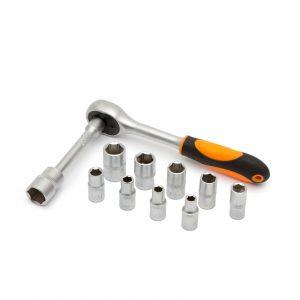 """12 delni set nasadnih ključev 5 - 13 mm z dvosmerno ragljo 1/4"""" in podaljškom"""
