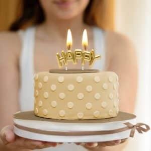 """3D svečka """"Happy"""" v zlati barvi"""