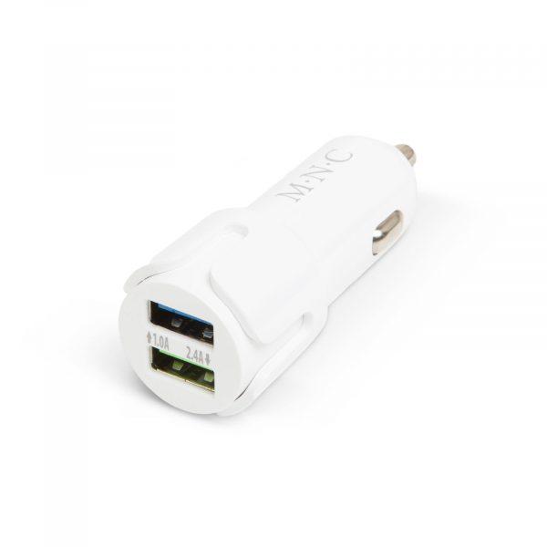 Adapter za vžigalnik za avtomobil z 2 USB vtičnicama - bel