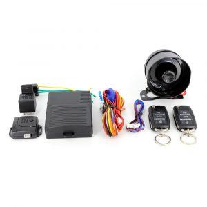 Avtomobilski alarmni sistem z daljinskim upravljalnikom in centralnim zaklepanjemm