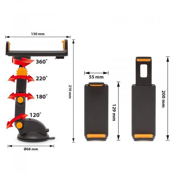 Avtomobilsko držalo za mobilni telefon črna / oranžna