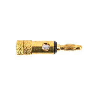 Banana konektor, pozlačen - max. 4 mm kabli - črn