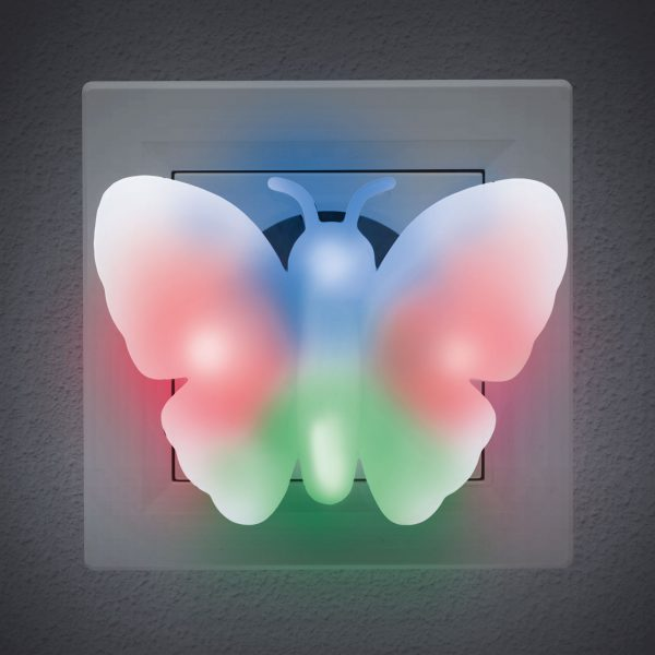 Barvita nočna lučka - metulj - 230 V