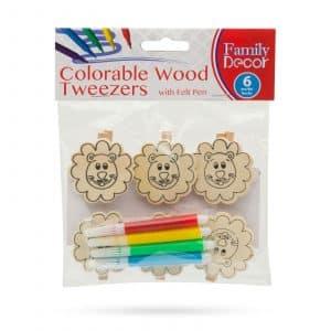 Barvne okrasne sponke iz lesa s flomastrom - lev - 5 cm