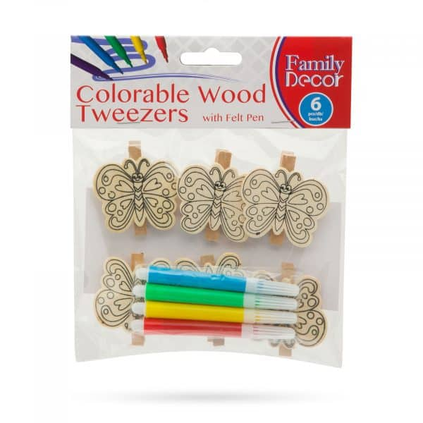 Barvne okrasne sponke iz lesa s flomastrom - metulj - 5 cm