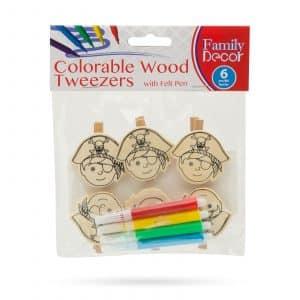 Barvne okrasne sponke iz lesa s flomastrom - pirati - 5 cm