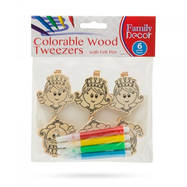 Barvne okrasne sponke iz lesa s flomastrom - princeska - 5 cm