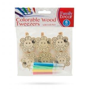 Barvne okrasne sponke iz lesa s flomastrom - rožica - 5 cm