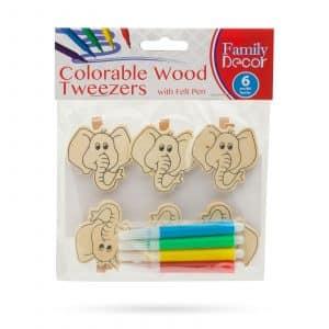 Barvne okrasne sponke iz lesa s flomastrom - slon - 5 cm