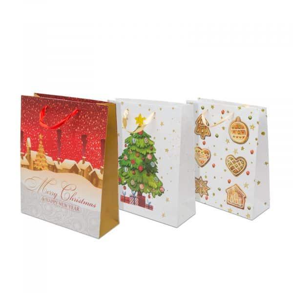 Božična darilna vrečka 31,7 x 26 x 10 cm, 12 kosov