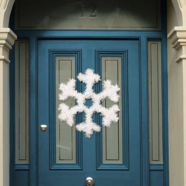 Božična dekoracija za vrata - snežinka - 32 cm