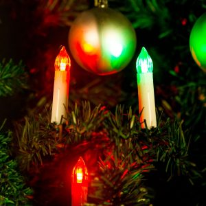 Božična LED dekoracija sveče - večbarvne - 10 LED - 2 x AA