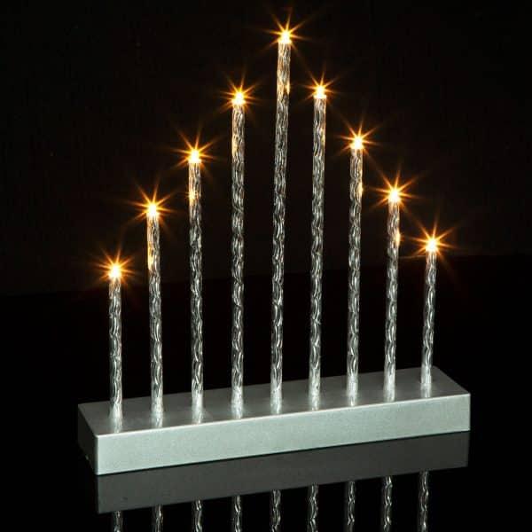 Božična LED dekoracija svečnik - 9 LED - toplo bela - 3 x AA