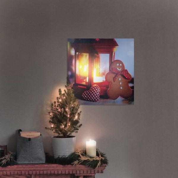 Božična LED stenska slika - 2 x AA, 30 x 30 cm