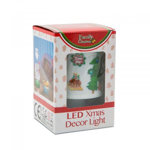 Božična namizna svetilka z baterijami - rdeča podlaga