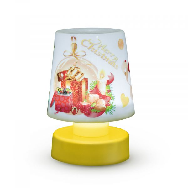 Božična namizna svetilka z baterijami - rumena podlaga