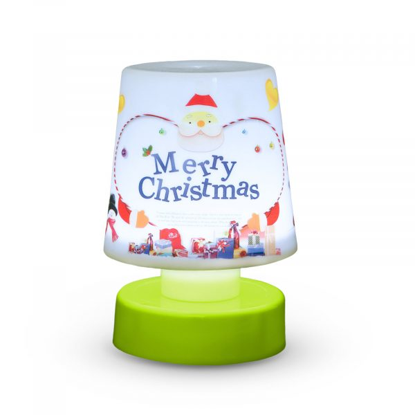 Božična namizna svetilka z baterijami - zelena podlaga