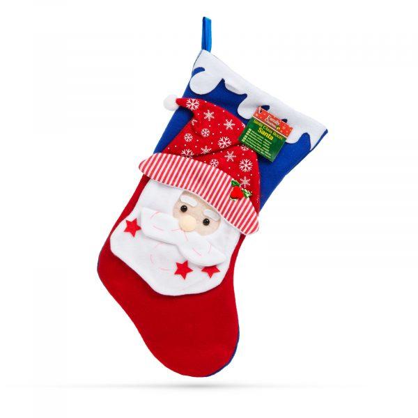 Božična nogavica z obešalnikom - božiček - 43 x 22 cm