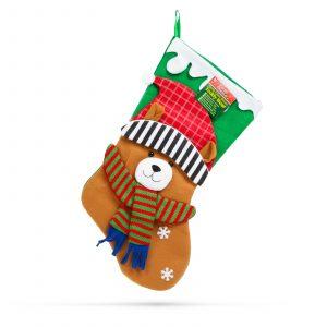 Božična nogavica z obešalnikom - medvedek - 43 x 22 cm