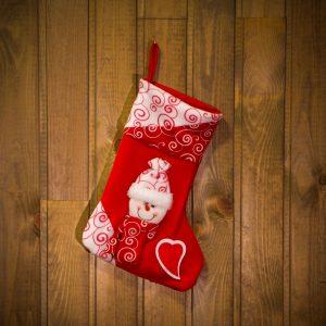 Božična nogavica z obešalnikom - snežak - 36 x 23 cm