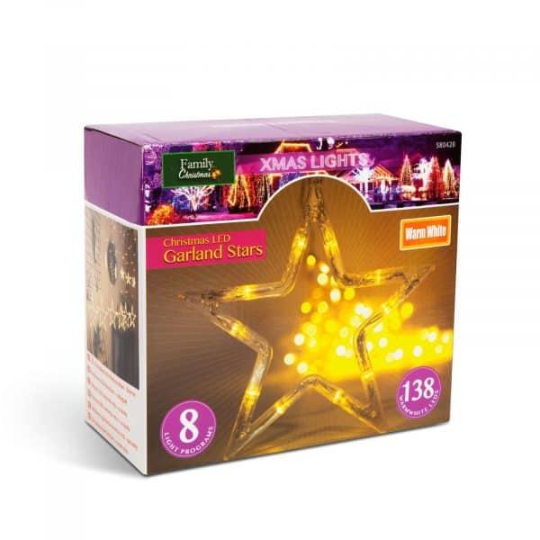Božične LED lučke - Zvezde - toplo bela - 6 velikih, 6 majhnih - 3 x 1 m