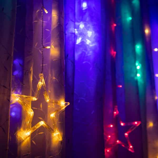 Božične LED lučke - Zvezde - večbarvne - 6 velikih, 6 majhnih - 3 x 1 m