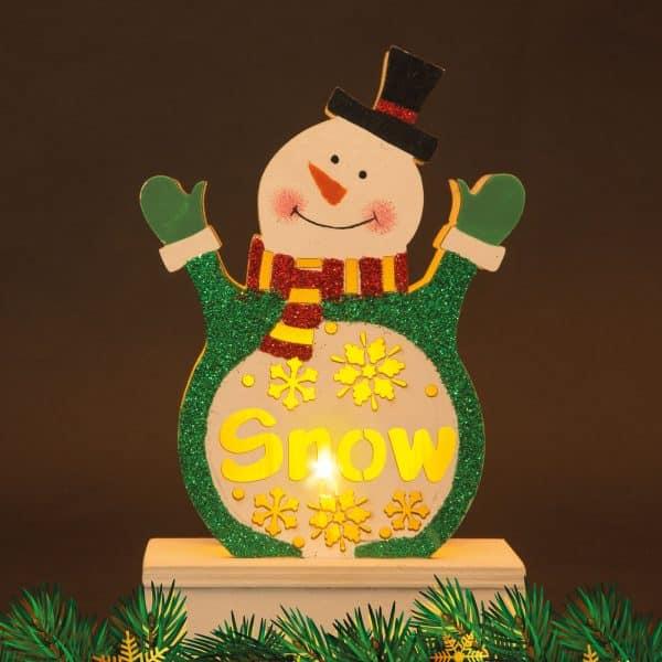 Božični LED dekor za mizo Les - snežak, 2 x AAA