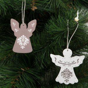 Božični okras - snežak - angel - les - 17,5 x 7,5 cm