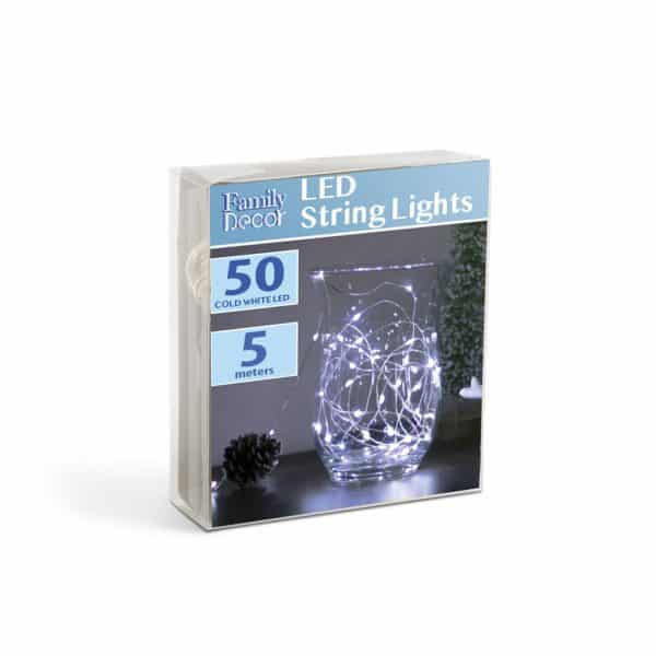 Božično - novoletne micro LED lučke na baterije 50 LED hladno bele 5m 3 x AA