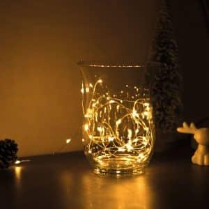 Božično - novoletne micro LED lučke na baterije 50 LED toplo bele 5m 3 x AA