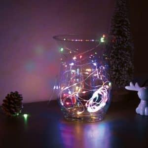 Božično - novoletne micro LED lučke na baterije 50 LED večbarvne 5m