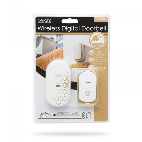 Brezžični električni vratni zvonec dizajnerski beli