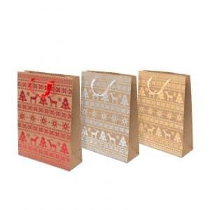 Darilna vrečka z božičnim motivom 31 x 23 x 11 cm, 12 kosov