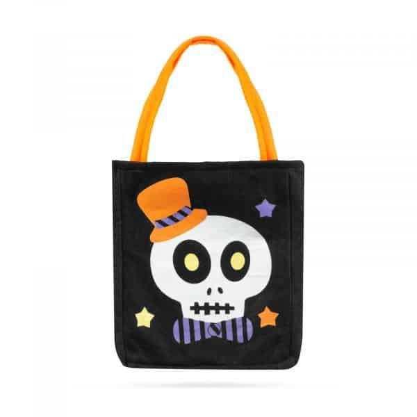 Darilna vrečka za noč čarovnic - tekstil, lobanja, 18 x 22 cm