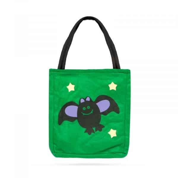 Darilna vrečka za noč čarovnic - tekstil, netopir 18 x 22 cm
